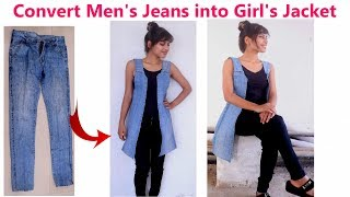 DIY: Convert/ Reuse/ Recycle Men's Old Jeans into Girl's Jacket/ Diy Girl's denim jacket