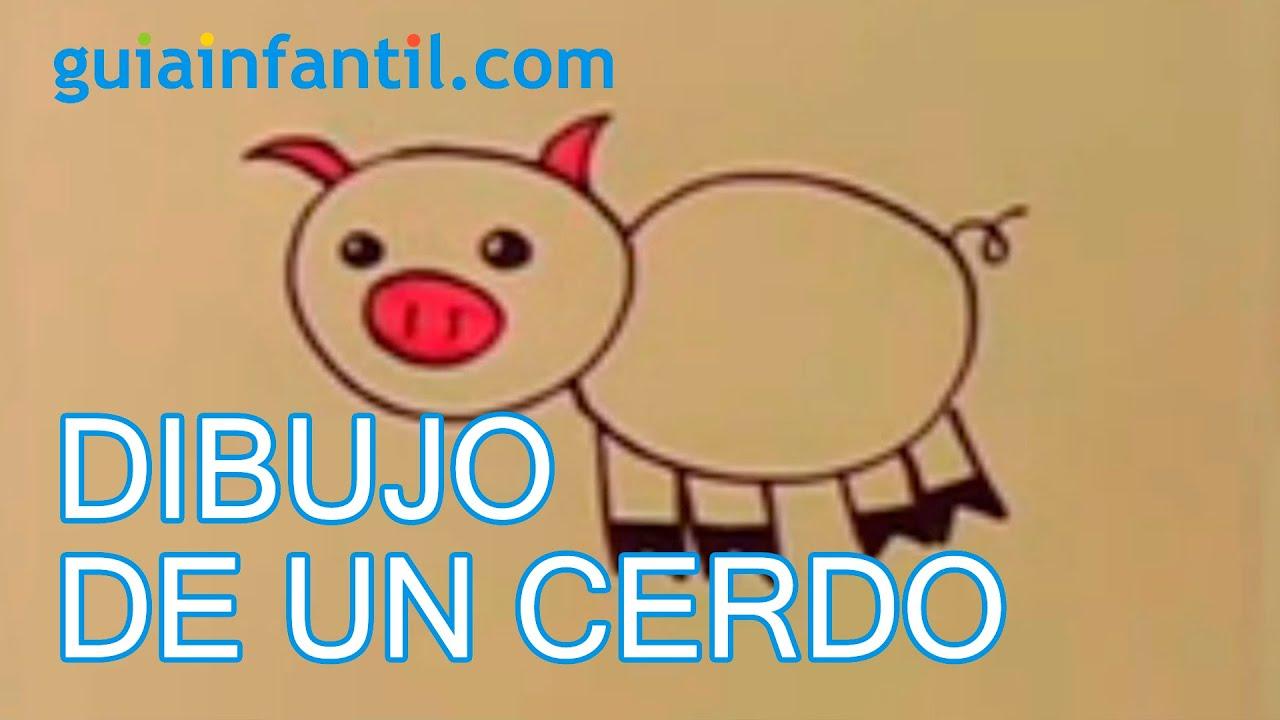 Cómo dibujar un cerdo con los niños paso a paso - YouTube