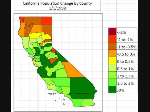 Map: California Population Change by County