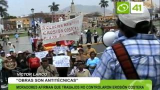 Moradores de Victor Larco marchan por erosión costera - Trujillo