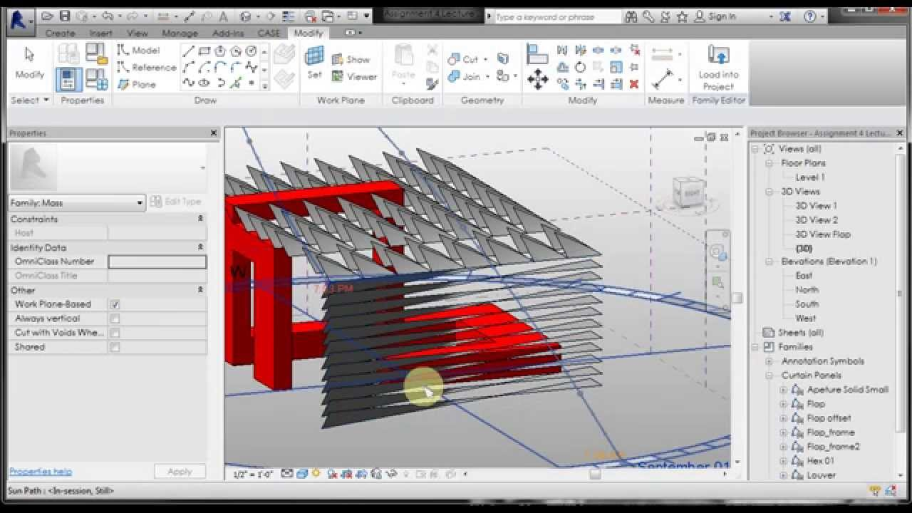 Pp Revit 10 Curtain Wall Pattern Louver Pattern Youtube