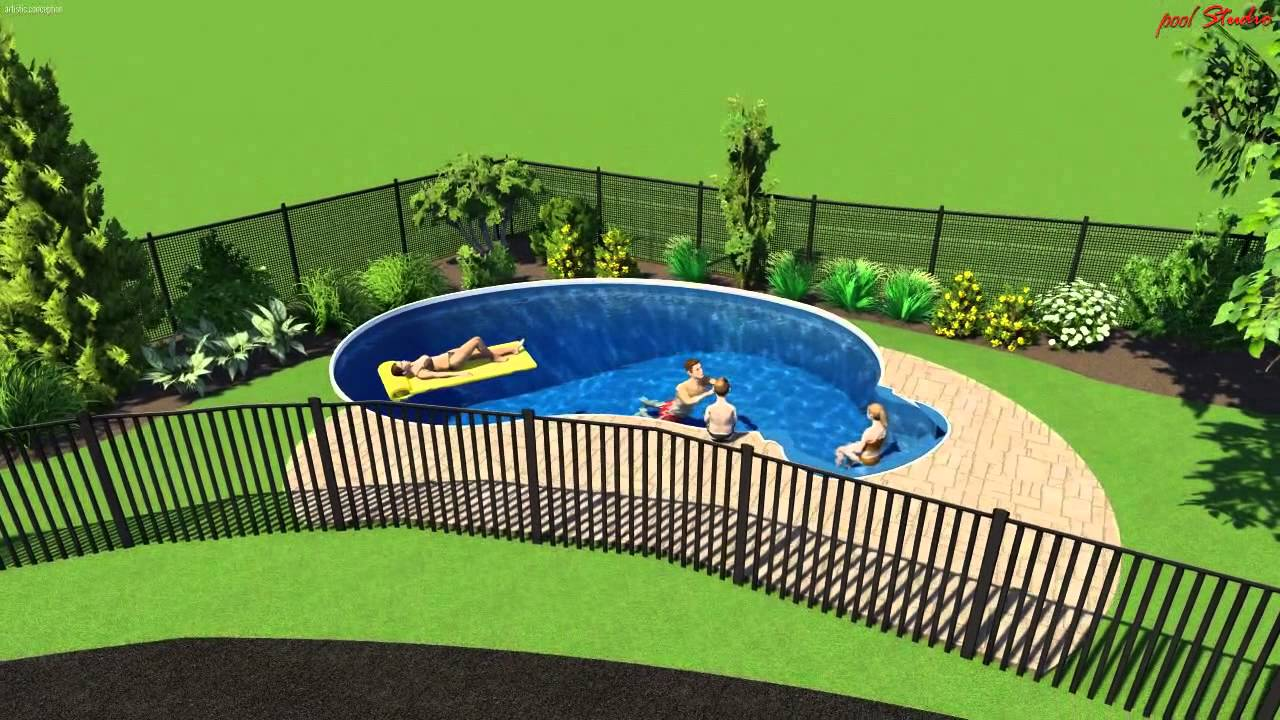 12 x 24 kidney semi inground 2 options youtube for 12x24 pool design