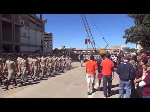 TAMU ROTC marching to Kyle Field 10 19 13