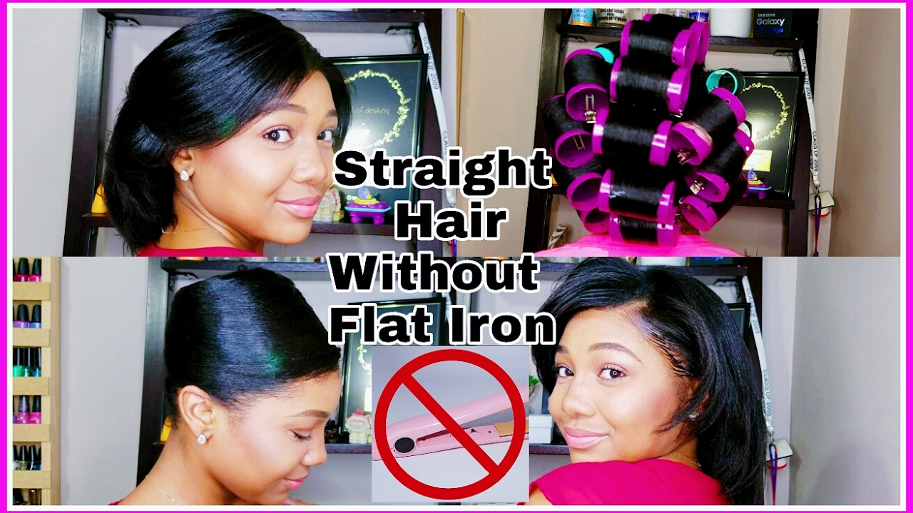 how to straighten hair without a flat iron roller set straightening youtube. Black Bedroom Furniture Sets. Home Design Ideas