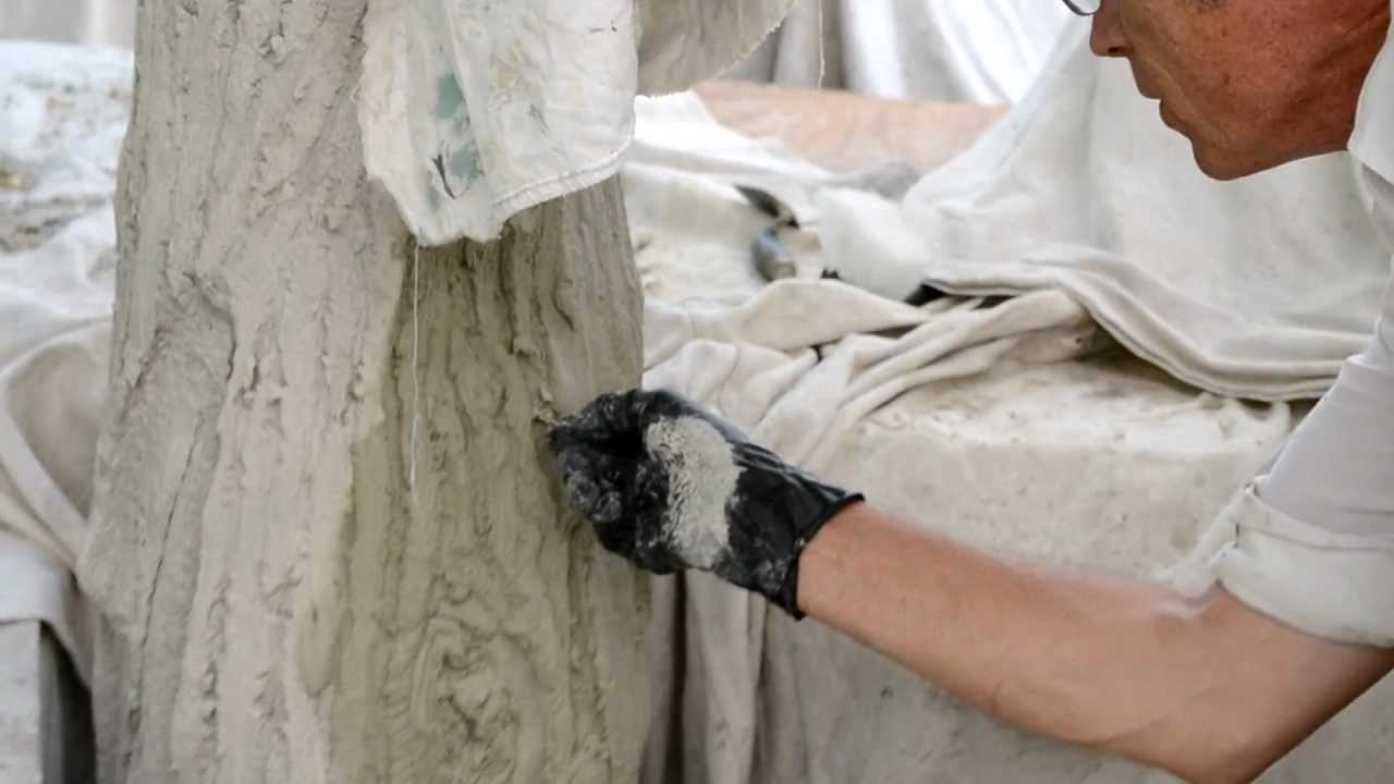 Terry Eagan explains the process of concrete trees at