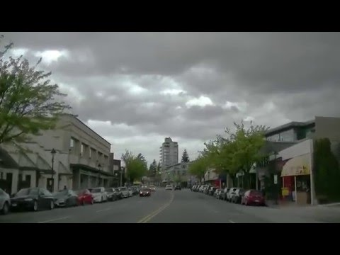 WEST VANCOUVER, B.C., Canada - Driving on Marine Drive in British Columbia - Sightseeing Tour
