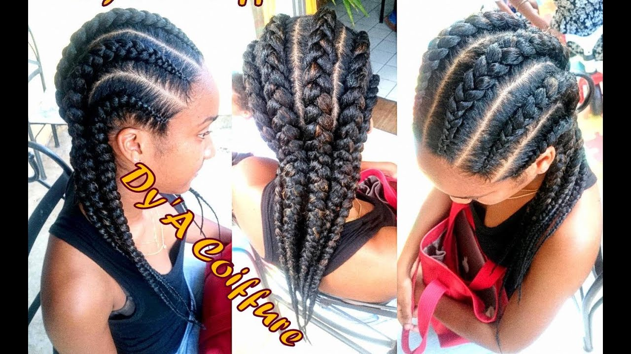 how to ★ 6 straight back feed in cornrows from different angles - by dy'a