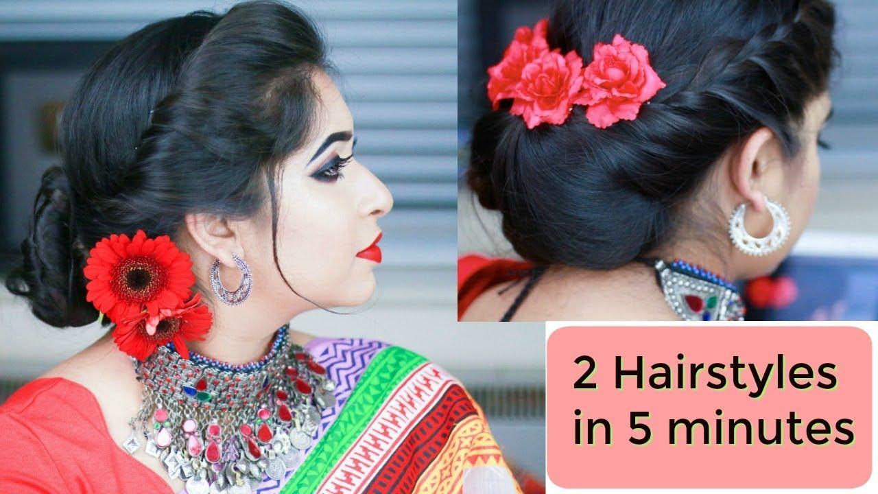 2 simple hairstyle simple festival buns for medium/long hair 2018 / indian bangladeshi party hair