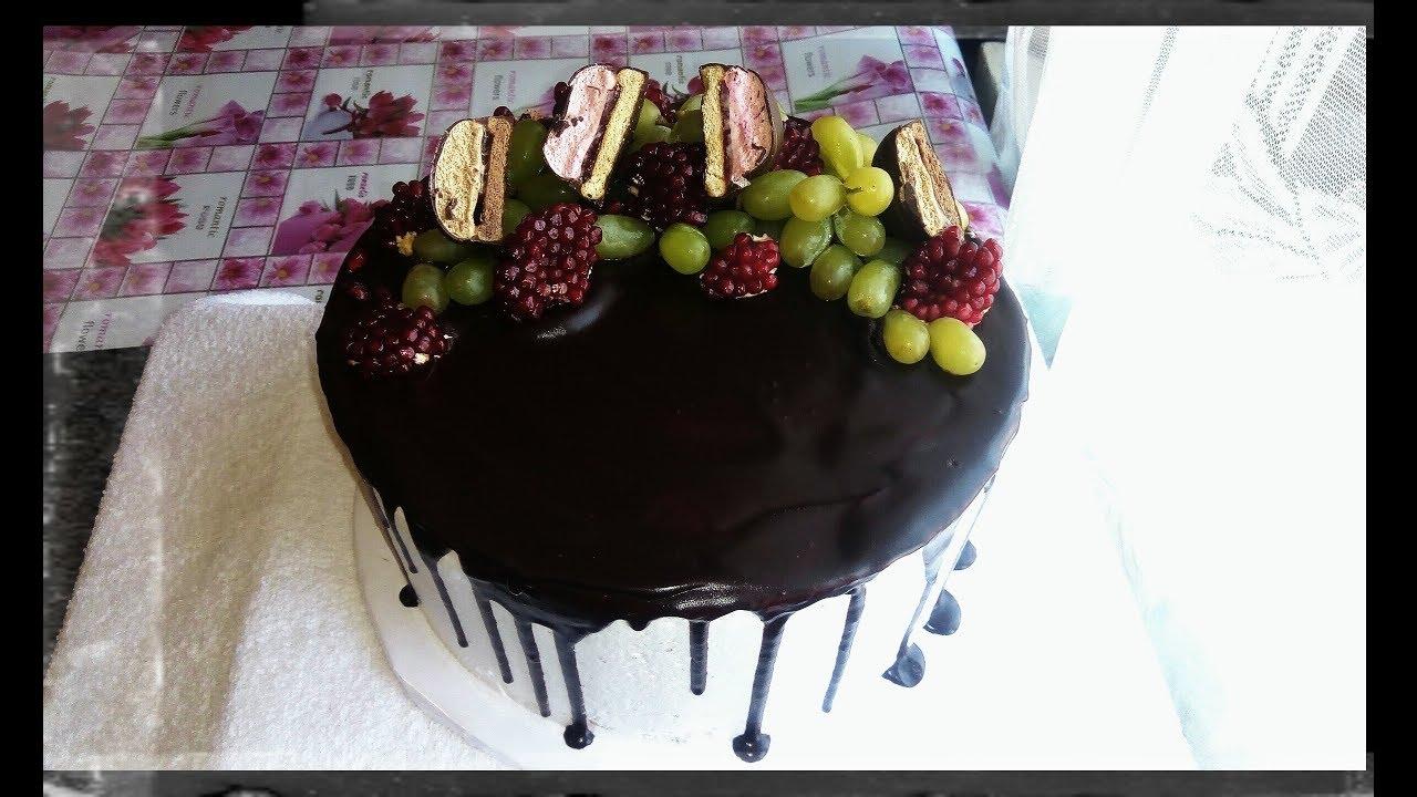 Украшение торта шоколадом с ягодами, без особых заморочек ...