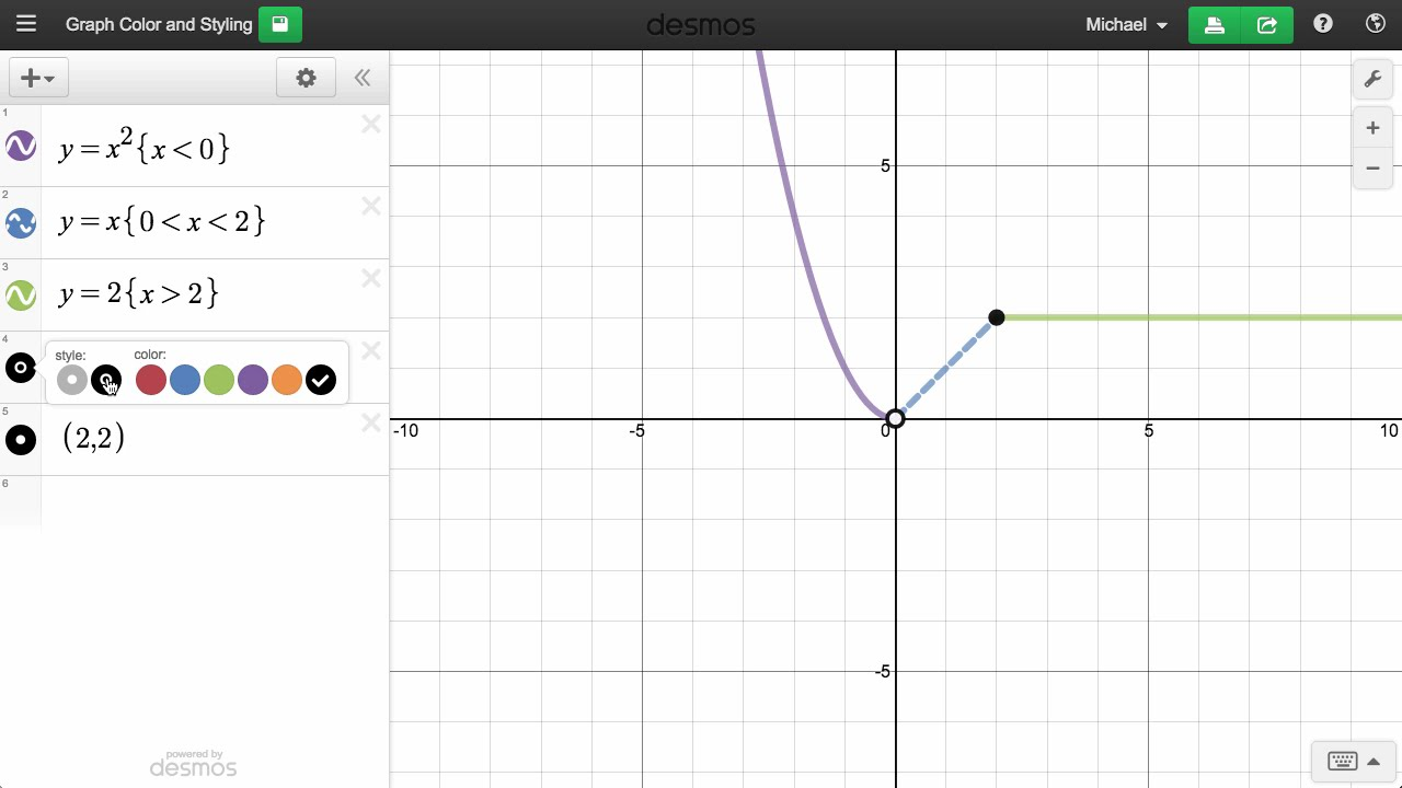 how to change colour of line on desmos