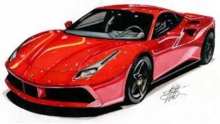 Realistic Car Drawing - Ferrari 488 GTB - Time Lapse