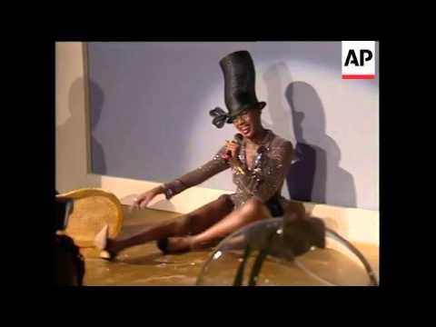Grace Jones falls off chair