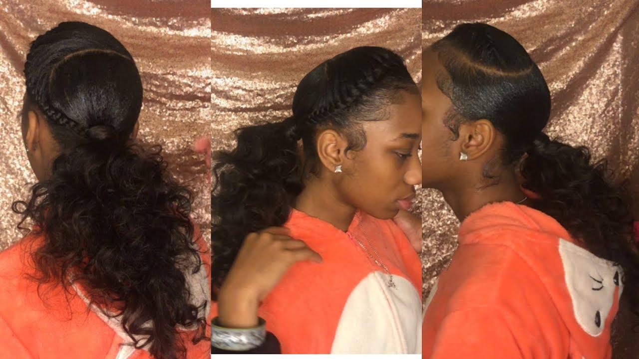 Sleek Ponytail With Goddess Braid Ft Black Unicorn Hair Youtube