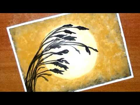 How to paint easy and simple sunset scenery | silhouette painting with watercolour…