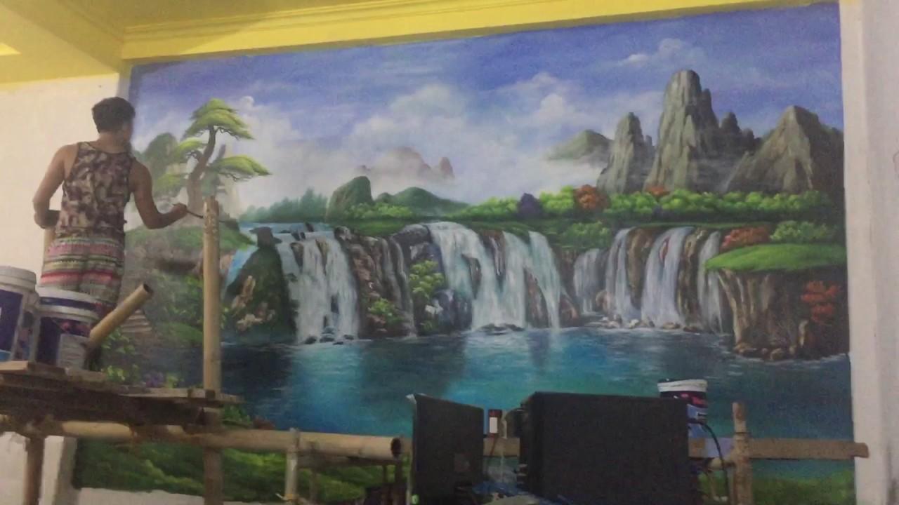 Hướng dẫn vẽ tranh tường 3d cảnh sơn thuỷ và trần mây 3d-liên hệ 0908766656