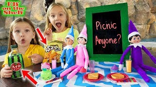 Crazy Picnic Outside With Our Elves! Elf on the Shelf Idea!!!