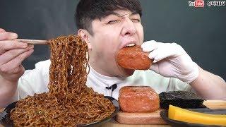 뉴핵불닭볶음면을 그것과 섞어서 통스팸이랑 먹어보았습니다  땀주의 멘탈나감 리얼사운드 먹방 REAL SOUND MUKBANG ASMR SOCIAL EATING