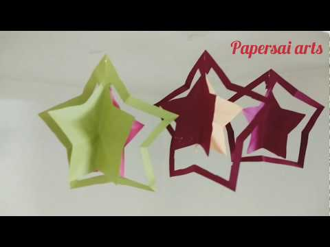 DIY,Paper star for Christmas decorations,Easy Paper Star, Summer Crafts in 5 minutes @ Papersai arts