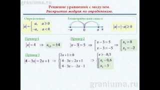 Уравнения с модулем. (раскрытие по определению) 8 класс