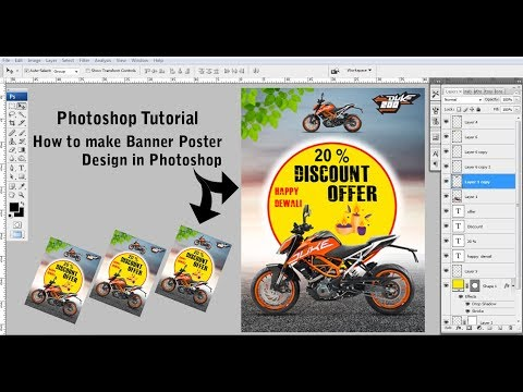How to make Banner Poster Design in Photoshop ~~ Photoshop Tutorial~~Ad Real Tech thumbnail