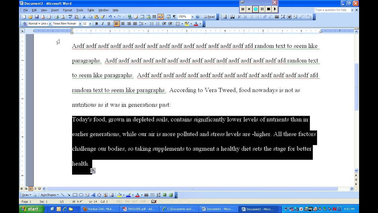 block quote in essay