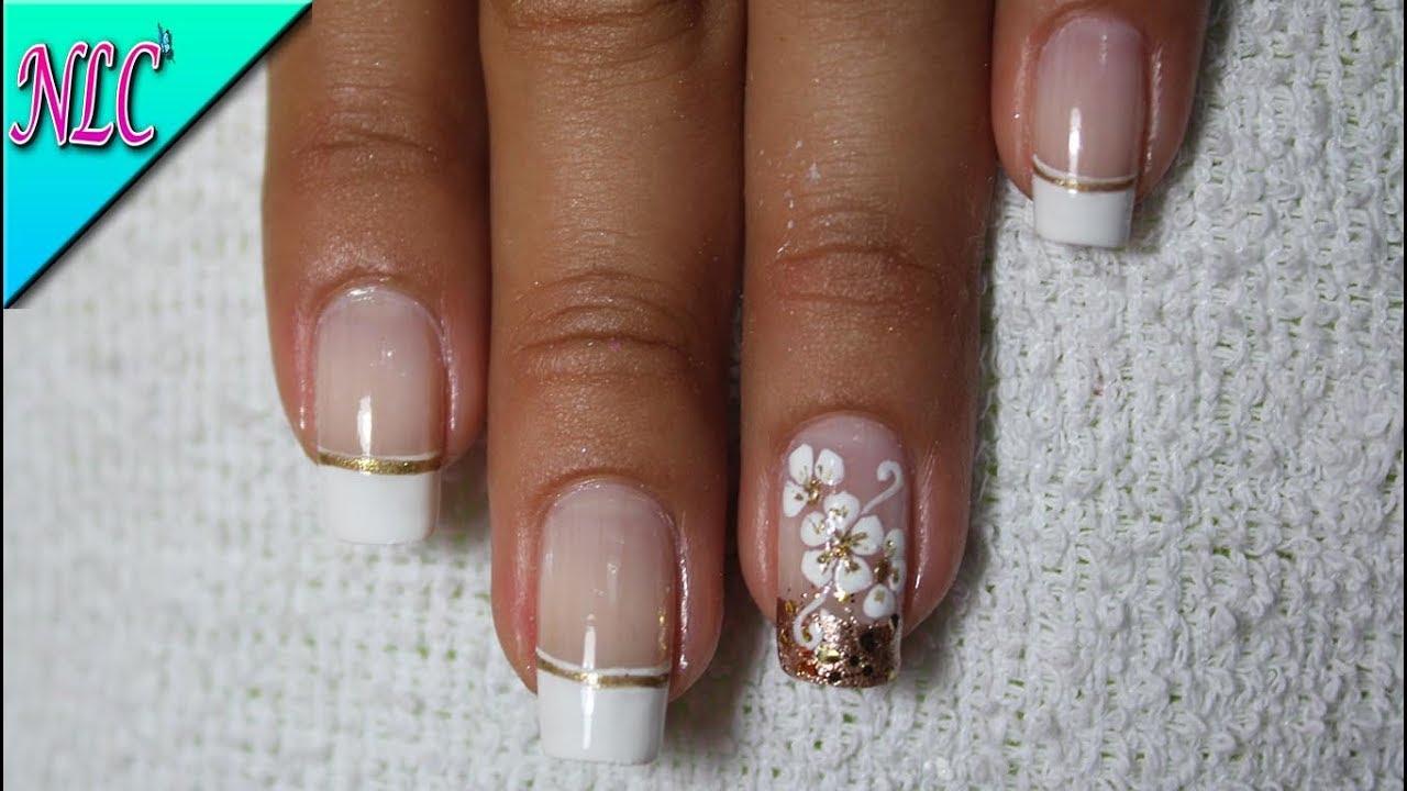 Decoración De Uñas Francés Y Flores French Nail Art Flowers Nail