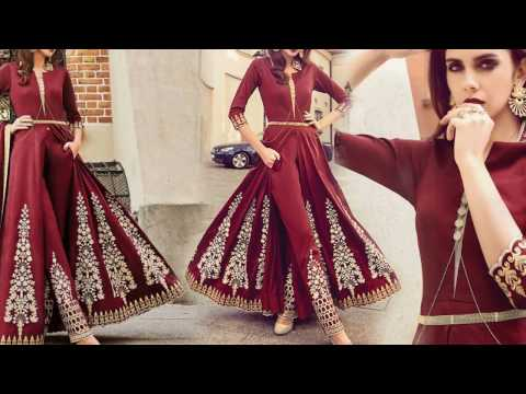 22d88e3b1d05 Latest Designer Dresses Designs: Indo Western Style Wedding Party Wear  Salwar Kameez Suit for Women - YouTube