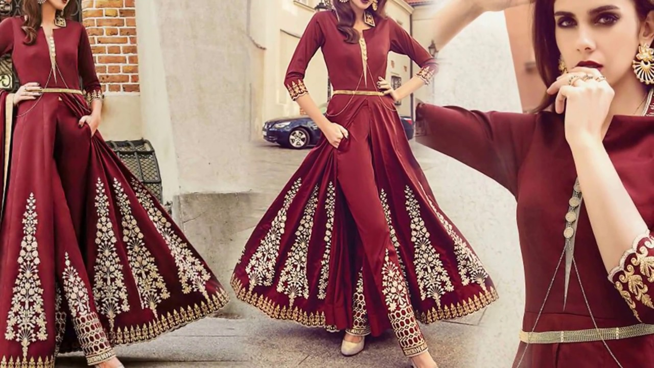 Latest Designer Dresses Designs Indo Western Style Wedding Party Wear Salwar Kameez Suit For Women