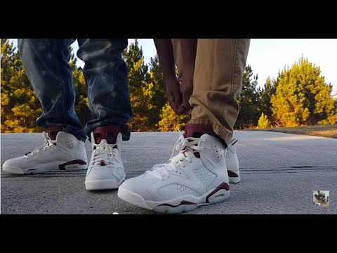 a3f728f3f777 AIR JORDAN 6 RETRO  MAROON  REVIEW AND ON FEET!!! - YouTube