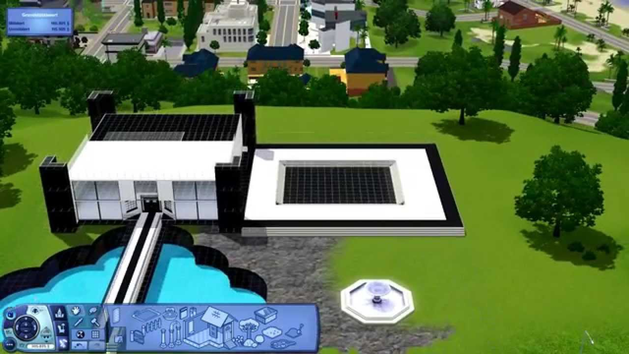 sims 3 haus bauen 1 villa b w black white mansion. Black Bedroom Furniture Sets. Home Design Ideas