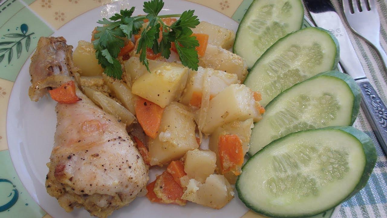 Курица запеченная с картофелем в духовке, в рукаве. Обед без хлопот!