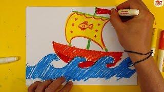 Как нарисовать ПАРУСНЫЙ КОРАБЛЬ / Урок рисования для детей от 3 лет