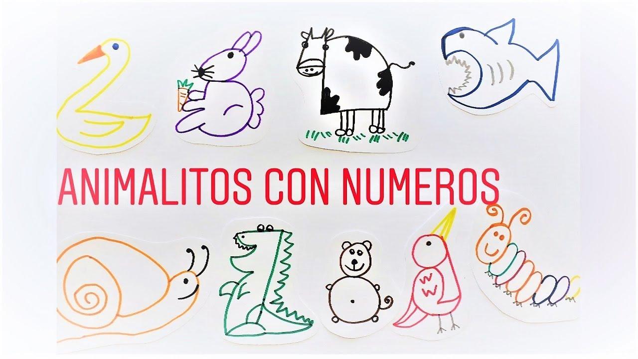 Como dibujar ANIMALITOS MUY FACIL con NUMEROS!! Aprende a convertir Números  en Animalitos! - YouTube
