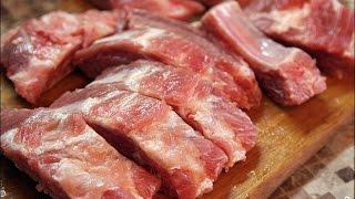 говяжьи ребрышки тушеные, тушёные говяжьи рёбрышки. Рецепт
