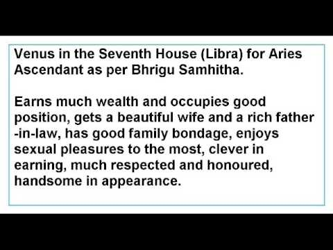 Venus in the Seventh House for Aries Ascendant as per Bhrigu