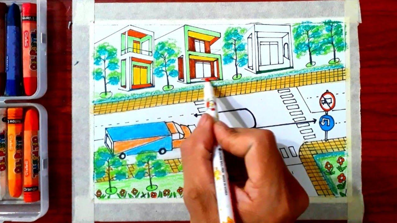 Cách vẽ tranh an toàn giao thông -P5 – những hướng nào ô tô tải được phép đi