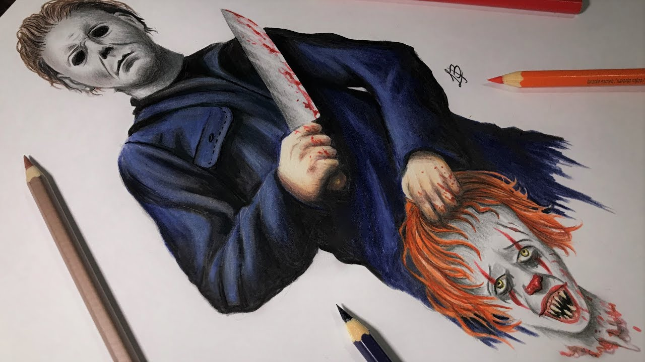 Desenhando Michael Myers Vs Pennywise R I P Pennywise Speed Art