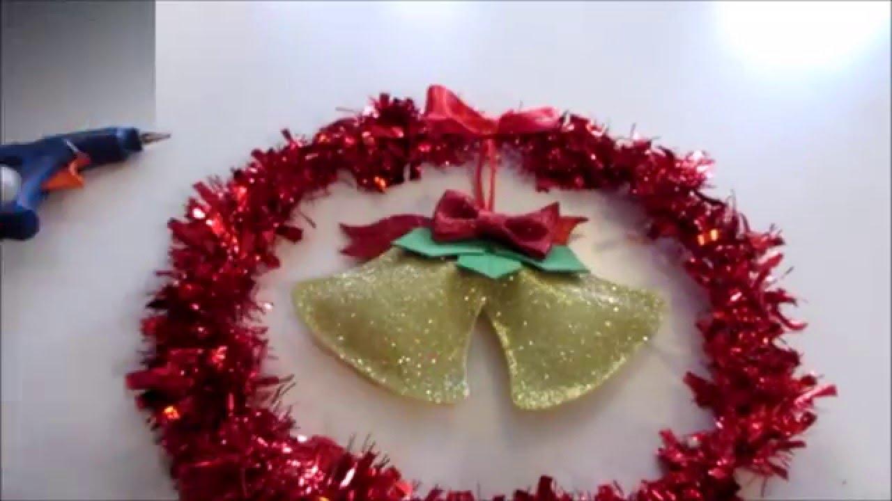 Aprenda a fazer uma linda guirlanda de natal em EVA e enfeite a porta da sua casa YouTube -> Decoração Em Eva Natal