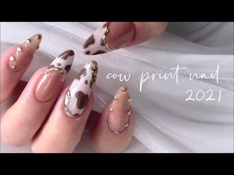 2021干支ネイル・丑年?❤︎冬セルフジェルネイル-cow print nail-