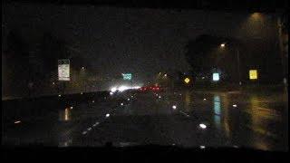 Amazing lane reflectors on USA freeway, night time driving, heavy rain
