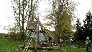 Medieval Trebuchet Launches A Pumpkin Several Hundred Feet!!! Sca