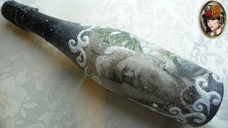 DECOUPAGE BOTTLES OF CHAMPAGNE. New Year's Decoration Of The Bottle With Their Hands