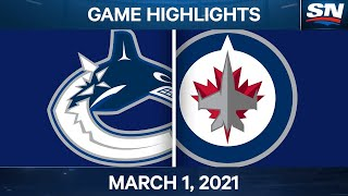 NHL Game Highlights | Canucks vs. Jets - March 01, 2021