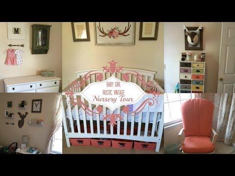 Baby Girl Nursery Tour⎮Rustic Vintage Nursery⎮Oh Plunkett