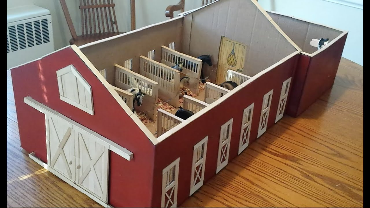 A Tour Of My Homemade Schleich Barn From Craft Sticks And