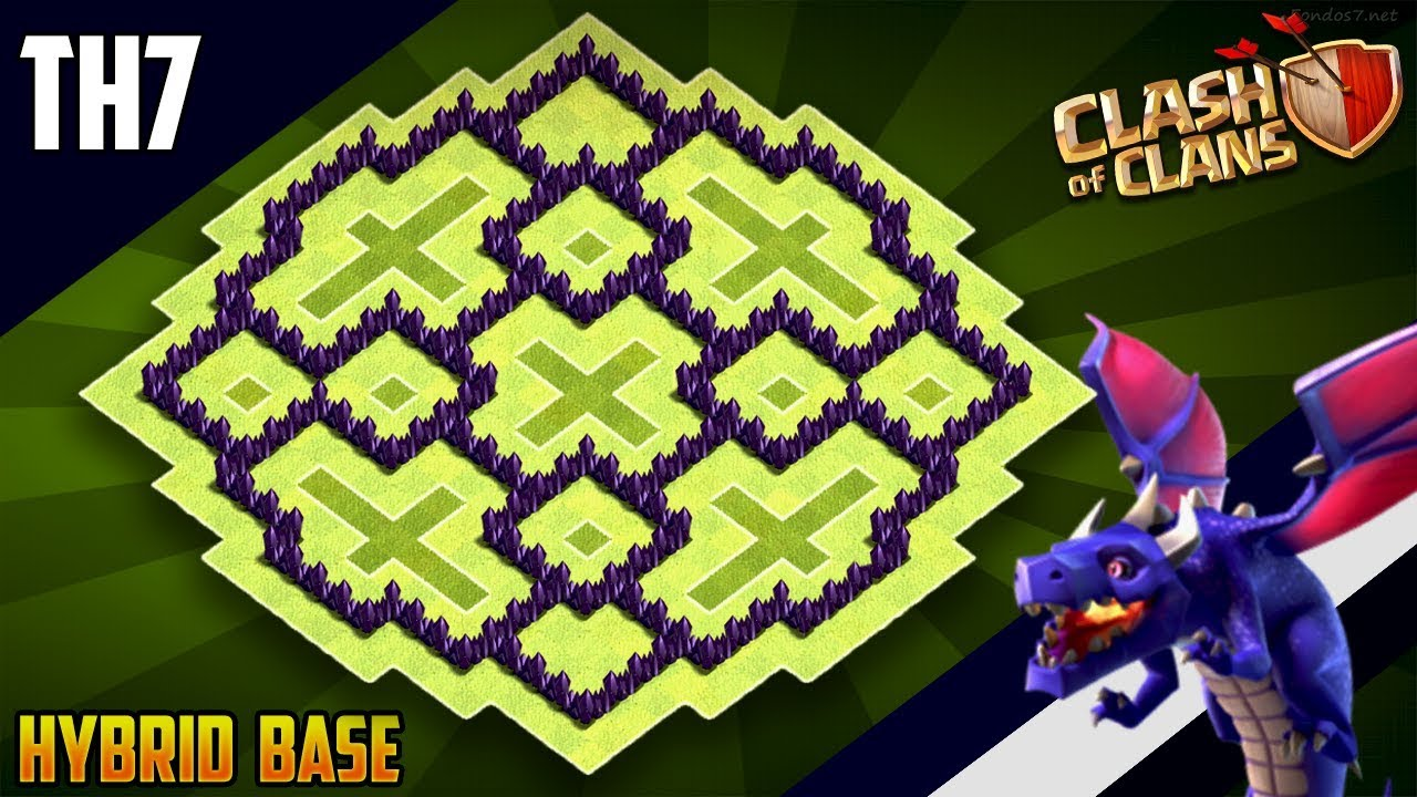 New Ultimate Th7 Hybrid Trophy Defense Base 2019 Town Hall 7 Hybrid Base Design Clash Of Clans Youtube