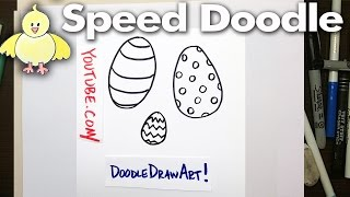 How to Draw Cartoon Easter Eggs - Speed Doodle - Easy