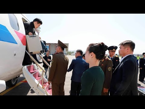 Foreign journalists on their way to DPRK's nuclear test site