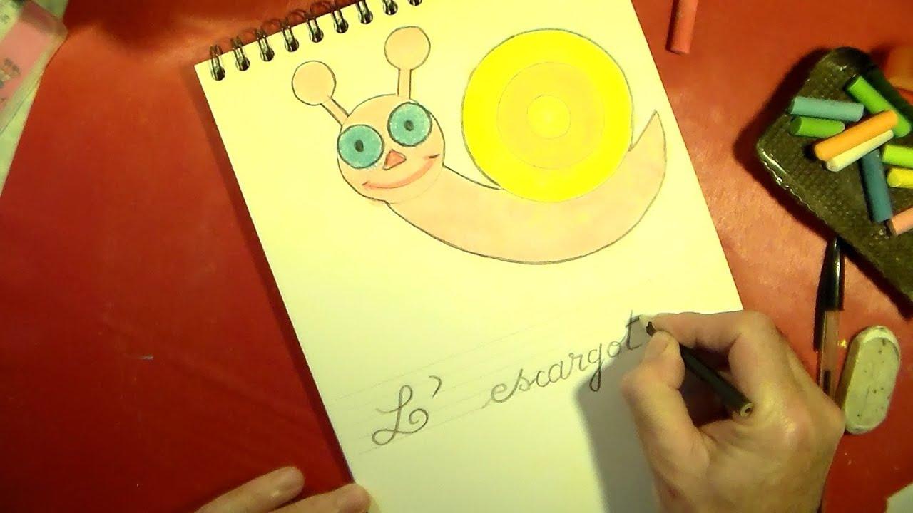 En Maternelle Apprendre A Dessiner Un Escargot Et Le Colorier A La