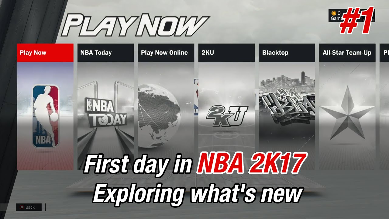 Download NBA 2K17 First day in game. Exploring what's new. Tutorial mode 2KU #1